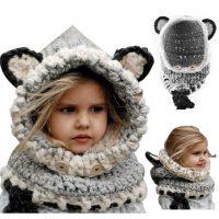 sciarpa cappello con orecchie di lana per bambini 1