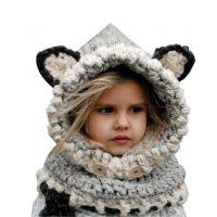sciarpa cappello con orecchie di lana per bambini 2