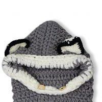 sciarpa cappello con orecchie di lana per bambini 4